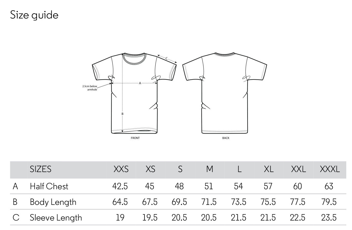 Unisex basic tshirt size chart