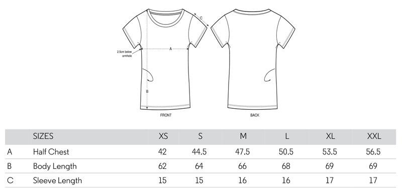 Danga organic cotton woman fitted t-shirt size spec