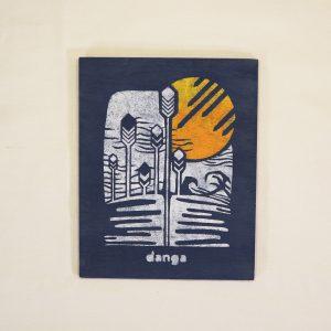 Danga landscape hand painted on plywood